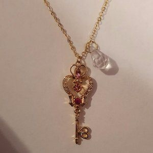 Sailor Moon Cosplay Space Time Key Heart Necklace